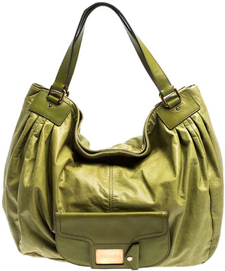 Escada Lime Green Leather Front Pocket Hobo