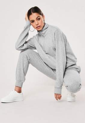 Missguided Tall Gray Zip Through Sweatshirt And Joggers Co Ord Set