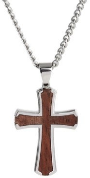 Sutton By Rhona Sutton Sutton Stainless Steel Wood Inset Cross Pendant Necklace