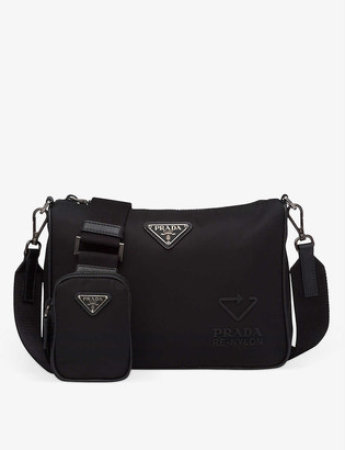 Prada Logo-embossed recycled-nylon, rubber and leather shoulder bag