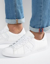 Armani Jeans Croc Embossed Logo Sneakers In White