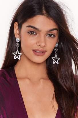 Nasty Gal Womens She's Like a Star Embellished Drop Earrings - grey - One Size