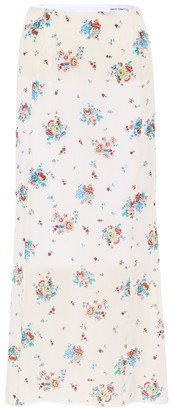 Paco Rabanne Floral crepe midi skirt
