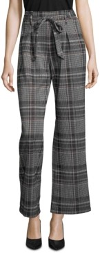 John Paul Richard Plaid Tie-Front Pull-On Pants