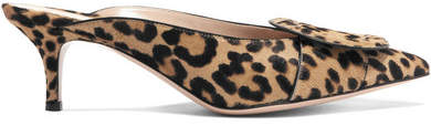 Gianvito Rossi 55 Leopard-print Calf Hair Mules - Leopard print