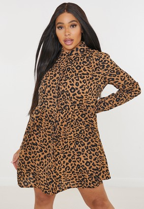Missguided Plus Size Brown Leopard Print Long Sleeve Smock Dress