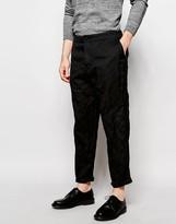 Asos Tapered Trousers In Lightweight Pinstripe Dark Grey