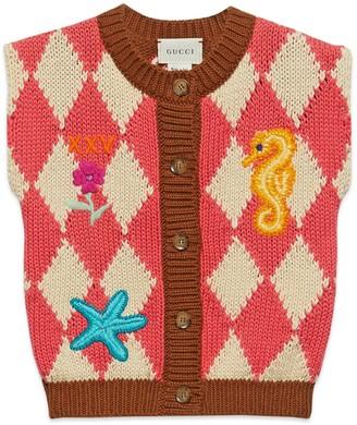 Gucci Baby diamond intarsia cotton vest