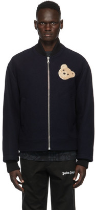 Palm Angels Navy Wool Bear Bomber Jacket