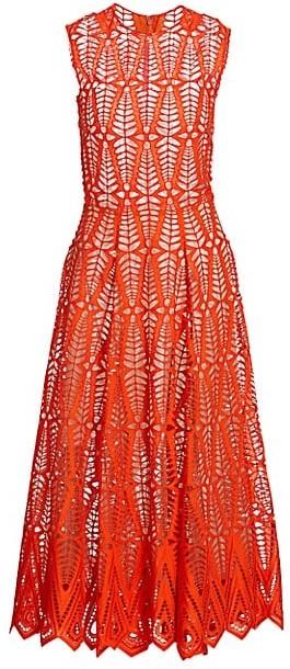 Oscar de la Renta Sleeveless Cotton Lace Midi Dress