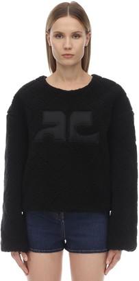 Courreges Logo Faux Fur Sweatshirt