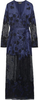 Agent Provocateur Anissa Appliquéd Silk-satin And Lace Robe - Midnight blue