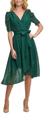Tommy Hilfiger Glitter-Dot Puff-Sleeve Midi Dress