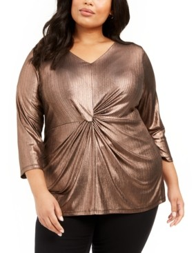 Alfani Plus Size Metallic Twist-Front Top, Created for Macy's