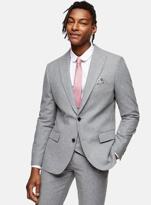 Topman HARRY BROWN Grey Tweed Slim Fit Suit Blazer With Peak Lapels