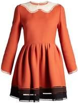 Fendi Wave-neck jour-échelle trimmed dress