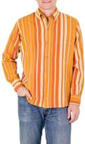 Men's Handwoven Long Sleeve Orange and Yellow Cotton Shirt, 'Pacific Sun'