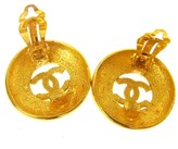 Chanel Gold Tone Gold Button Earrings