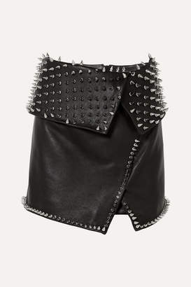 Balmain Wrap-effect Studded Leather Mini Skirt - Black