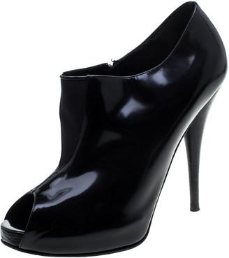 Fendi Black Leather Peep Toe Platform Ankle Booties Size 40