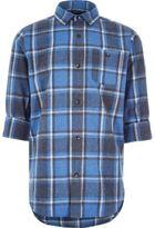 River Island Boys blue brushed check shirt