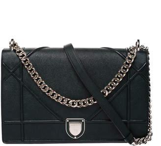 Christian Dior Dark Green Leather Large Diorama Flap Shoulder Bag