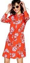 Red Herring Red Floral Print Long Sleeve Ruffle Shirt Dress