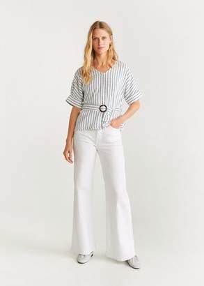 MANGO Belt striped blouse navy - 2 - Women