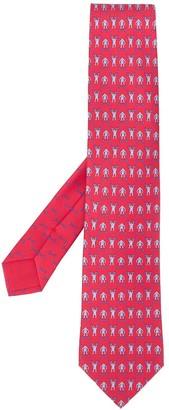 Hermes Contrasting Monkey Print Tie