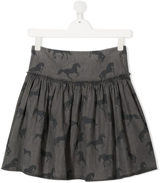 Stella Mccartney Kids TEEN horse-print mini skirt