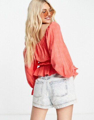 New Look textured waist detail blouse in light coral