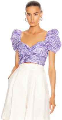 BROGNANO Printed Puff Sleeve Crop Top in Purple | FWRD