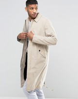 Asos Trench Coat with Parka Detail in Stone