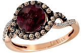 LeVian Raspberry Rhodolite, Chocolate Diamond, Vanilla Diamond and 14K Rose Gold Ring