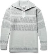 S.n.s. Herning - Fisherman Textured Virgin And Merino Wool-blend Half-zip Sweater