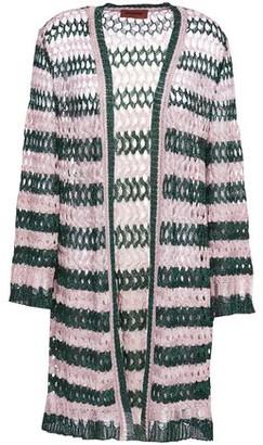 Missoni Metallic Striped Open And Crochet-knit Cardigan