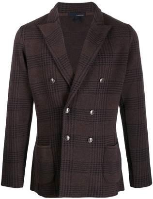 Lardini check-print double-breasted jacket