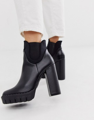 Co Wren chunky platform heeled boots in black