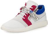 Giuseppe Zanotti Jewel-Strap Colorblock Leather Sneaker, White