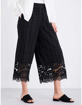 Opening Ceremony Wide mid-rise cotton-broderie anglaise trousers