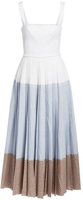 Lela Rose Squareneck Block Gingham Print Dress