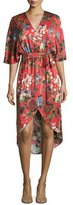 Alice + Olivia Clarine Floral-Print Silk Wrap Dress