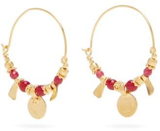 Katerina Makriyianni - Jade Beaded Gold-vermeil Hoop Earrings - Red Gold
