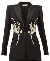 Alexander McQueen Floral-beaded Satin-lapel Wool-blend Jacket - Womens - Black