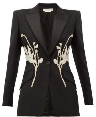 Alexander McQueen Floral-beaded Satin-lapel Wool-blend Jacket - Black