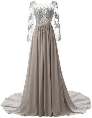 Wangmei Women's Prom Maxi Cocktail Evening Dresses Long Sleeves Backless Handmade Embroidery Rhinestone Elegant Wedding Occasion Dresses Tailed Tuxedo