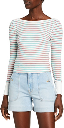 Frame Variegated Stripe Long-Sleeve Top
