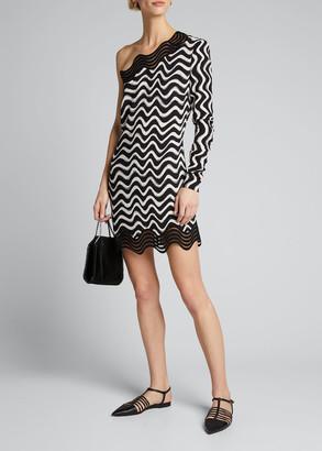 Stella McCartney Wave-Print Chiffon One-Shoulder Mini Dress