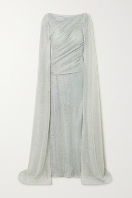 Talbot Runhof Cape-effect Ruched Metallic Voile Gown - Sky blue