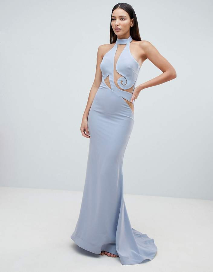 Forever Unique Halter Swirl Mesh Maxi Dress